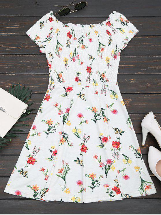 فستان بلا اكتاف كشكش سموكيد بخط A - الأزهار M