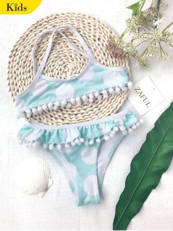 fancy Pom Pom Polka Dot Kids Bikini Set - WHITE AND GREEN 6T