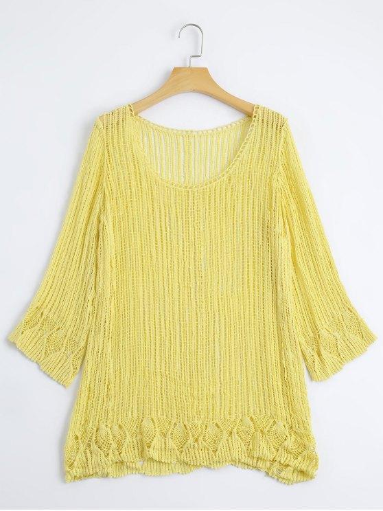 Cuello de punto hecho a mano - Amarillo Única Talla