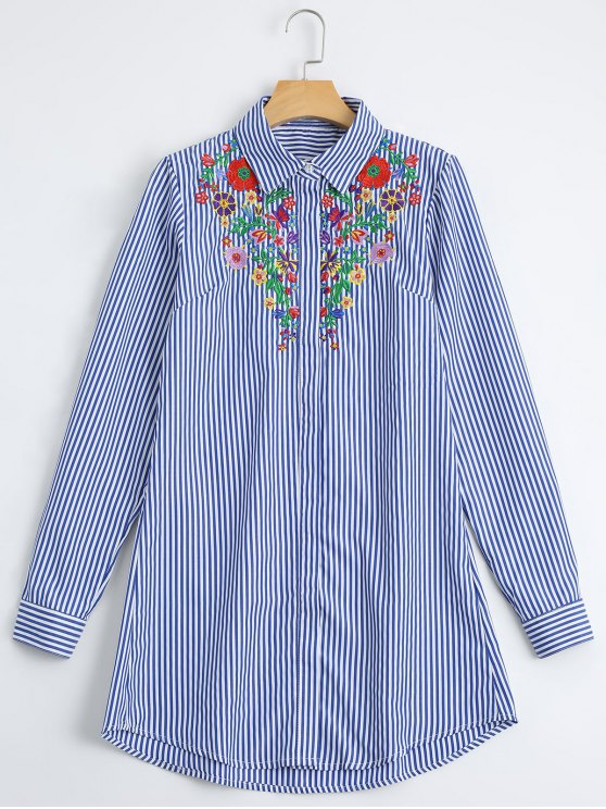 women's Loose Floral Embroidered Stripes Shirt - STRIPE L