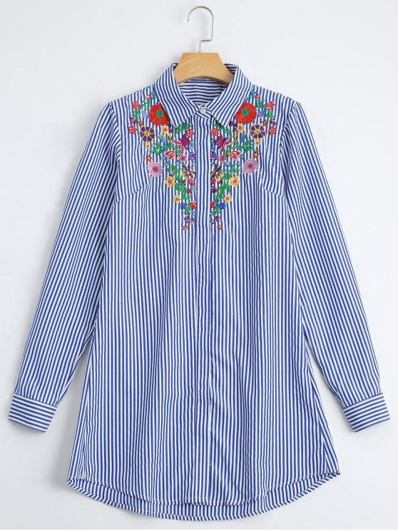 Camisa bordada floral floja de las rayas - Raya S