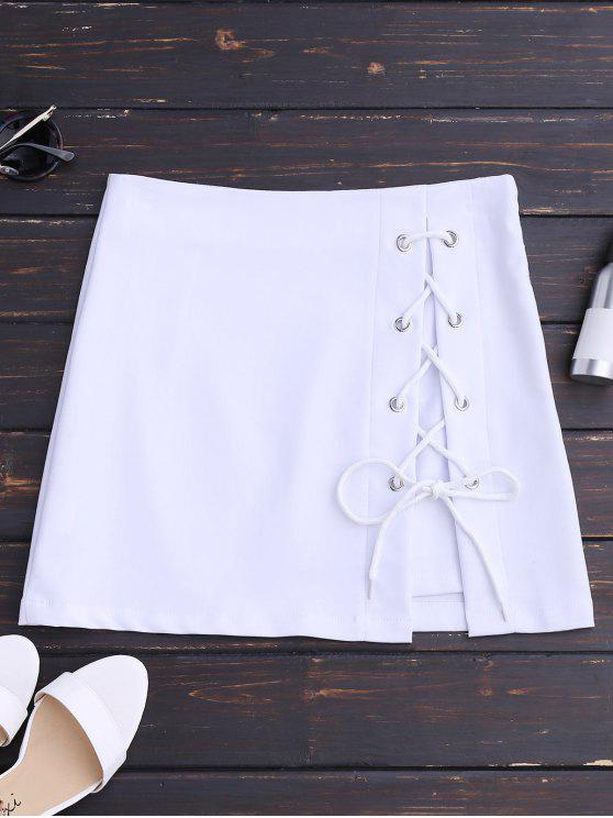 hot High Waisted Lace Up Bodycon Skirt - WHITE S
