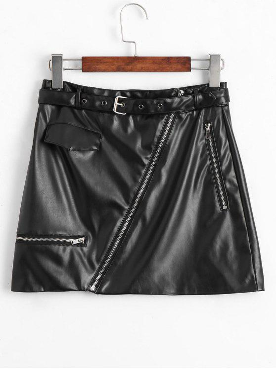 womens Asymmetric Zipper Belted Faux Leather Skirt - BLACK S
