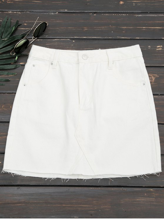 Cutoffs Denim Mini Falda - Blanco L