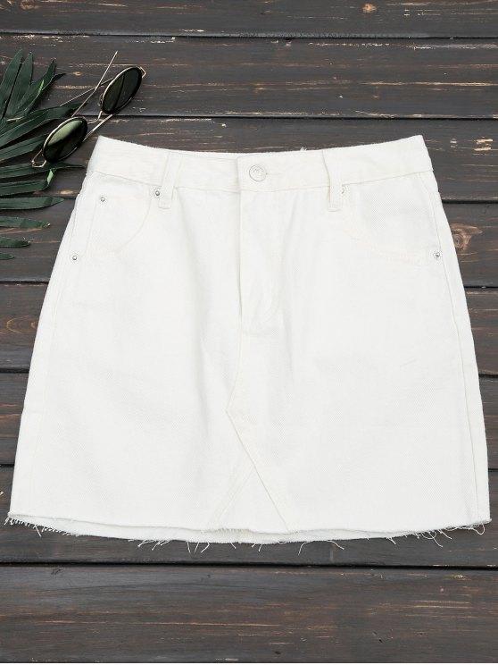 new Cutoffs Denim Mini Skirt - WHITE L