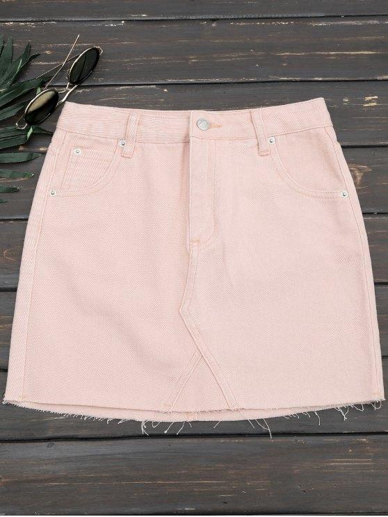 trendy Cutoffs Denim Mini Skirt - PINK L