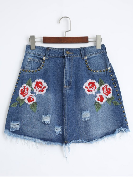 women Floral Embroidered Cutoffs Ripped Denim Skirt - DENIM BLUE S