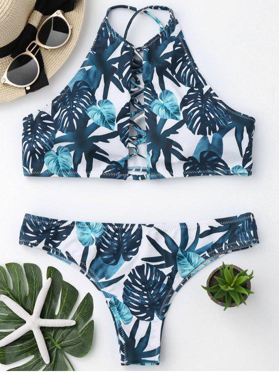 shop High Cut Leaf Strappy Bathing Suit - COLORMIX L