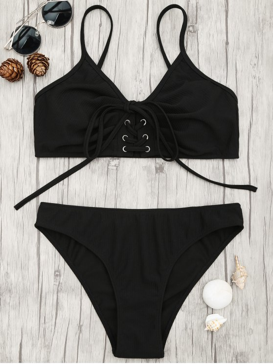 best Eyelets Lace Up Bralette Bikini Set - BLACK M