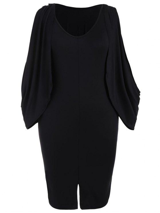 فستان ضيق الحجم الكبير انقسام الأكمام - أسود 2XL