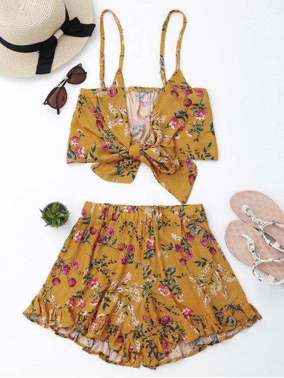 online Floral Cami Top with Shorts Set - FLORAL L