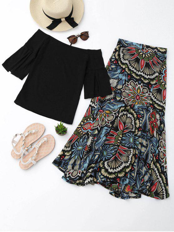 hot Off Shoulder Top and Printed Skirt Set - BLACK M