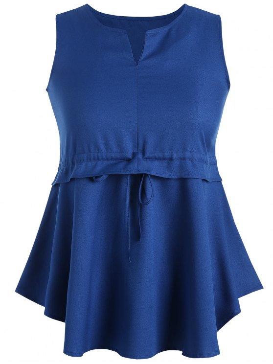 affordable Plus Size Drawstring Ruffles Peplum Top - ROYAL 3XL