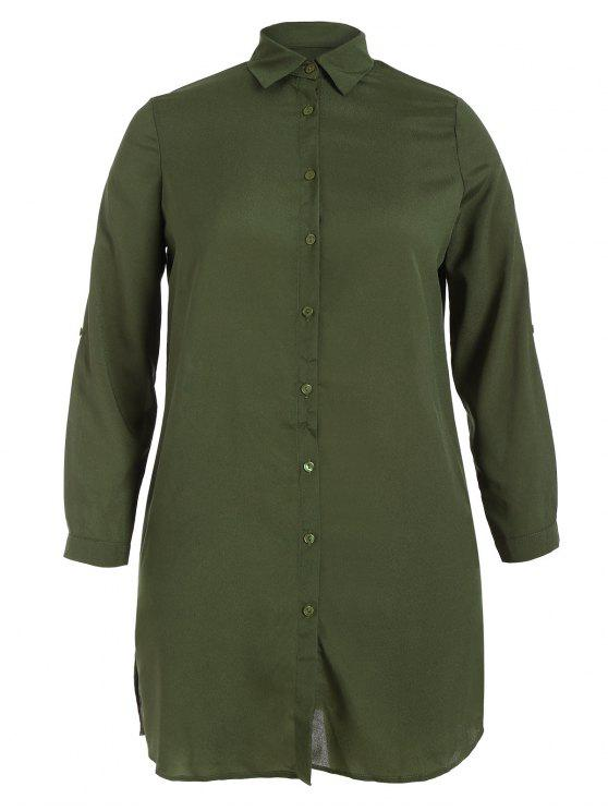 womens Floral Embroidered Plus Size Shirt Dress - ARMY GREEN 2XL