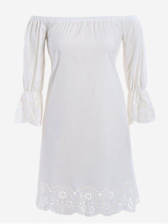 24% OFF] 2019 Laser Cut Plus Size Off Shoulder Dress In WHITE | ZAFUL
