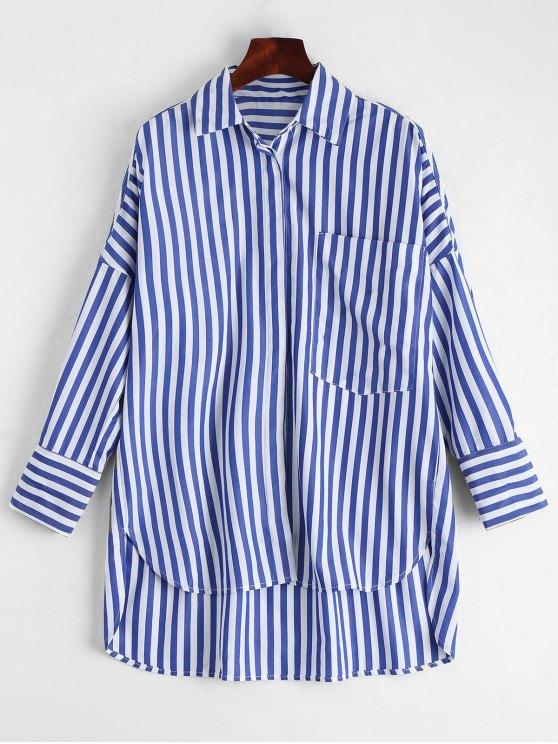 Chemise à rayures haut bas avec poche - Rayure L