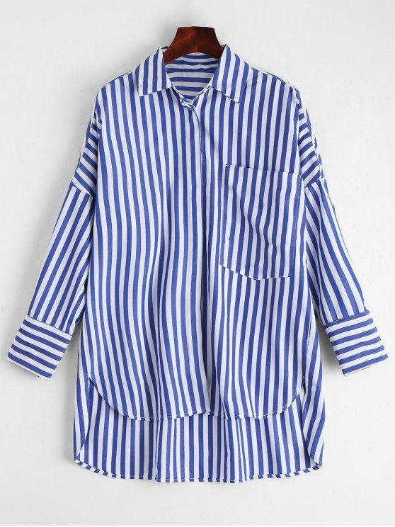 affordable Stripes High Low Shirt with Pocket - STRIPE M