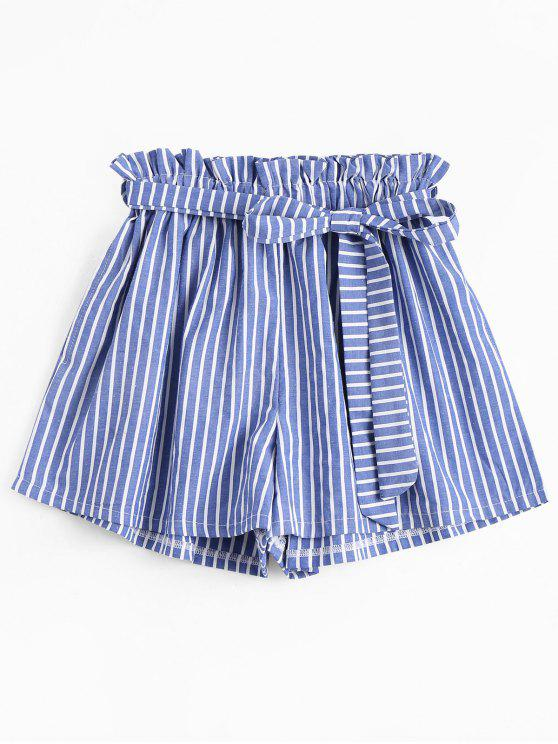 shops Belted Smocked Striped High Waisted Shorts - STRIPE ONE SIZE
