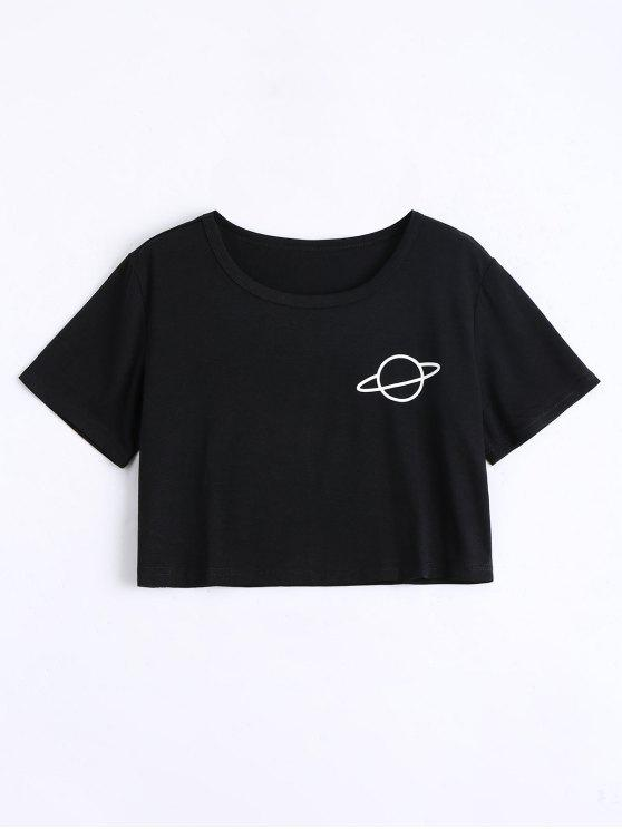 Camiseta cosechada de la impresión del planeta - Negro M