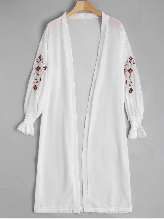 Blusa de gasa delantera abierta remendada floral - Blanco Única Talla