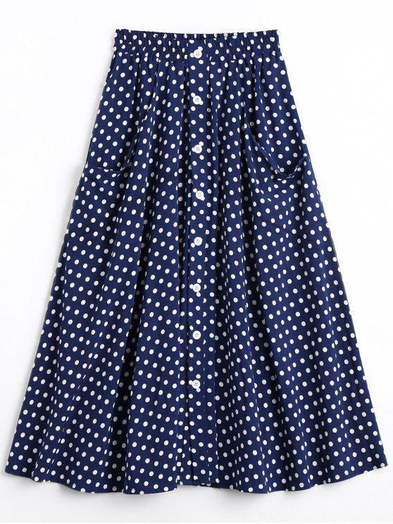 lady Button Up Polka Dot Skirt with Pockets - DOT PATTERN L