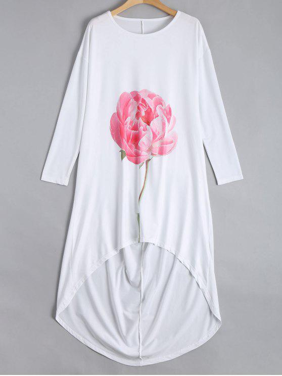 latest Drop Shoulder Flower High Low Dress - WHITE L