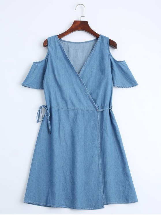 chic Casual Wrap Cold Shoulder Dress - DENIM BLUE M
