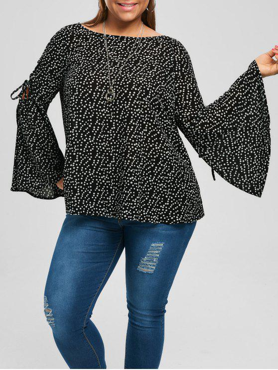 new Plus Size Lace Up Flare Sleeve Blouse - BLACK XL