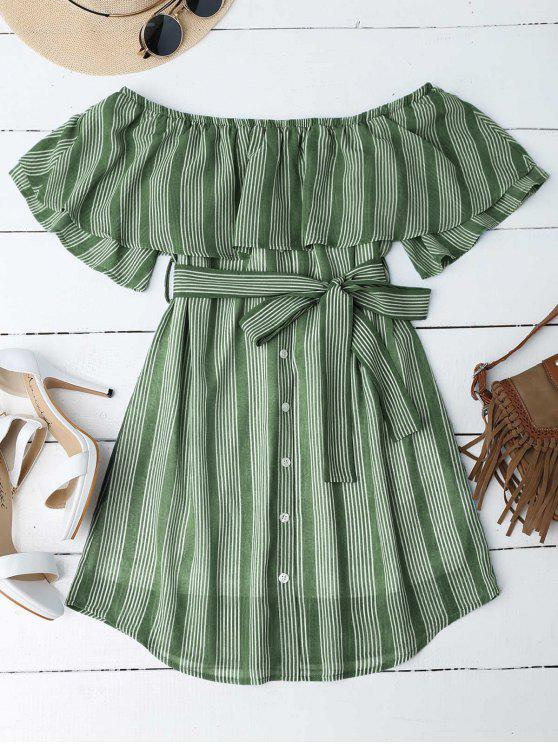 hot Multi Stripe Off The Shoulder Dress - GREEN M
