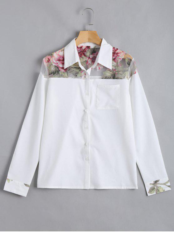 شيرت زر طباعة الازهار بجيب - أبيض XL