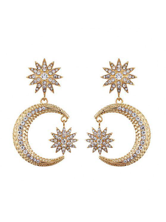 Pendientes de gota de la luna del diamante del Rhinestone - Dorado