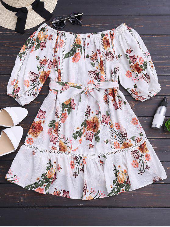 فستان مصغر بلا اكتاف مربوط طباعة الأزهار - أبيض S