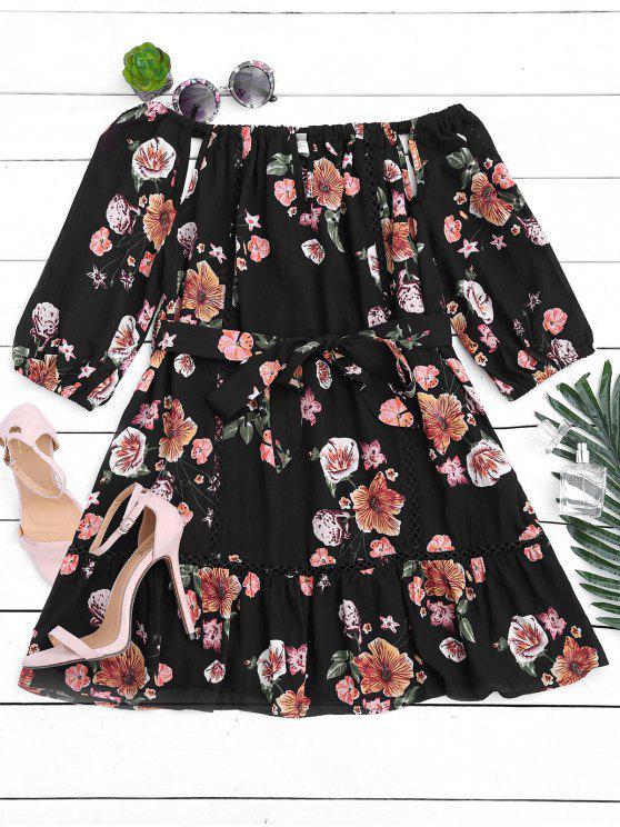فستان مصغر بلا اكتاف مربوط طباعة الأزهار - أسود S