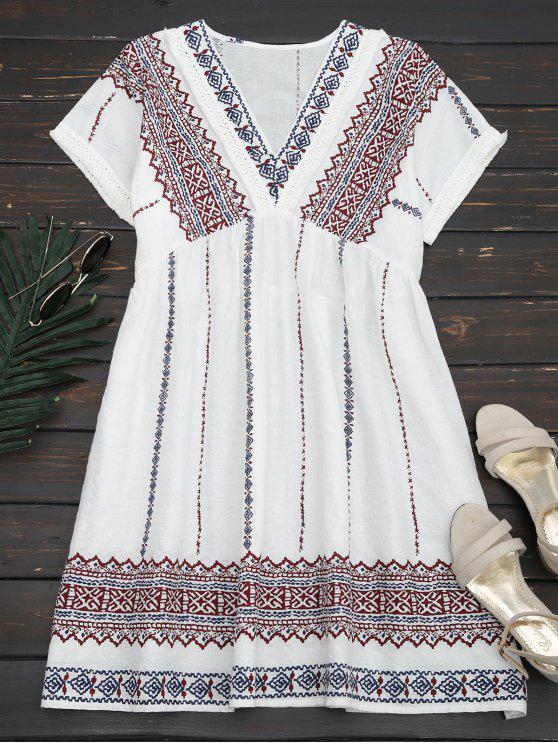 Vestido Recto con Bordado con Vivos Desflecados - Blanco S