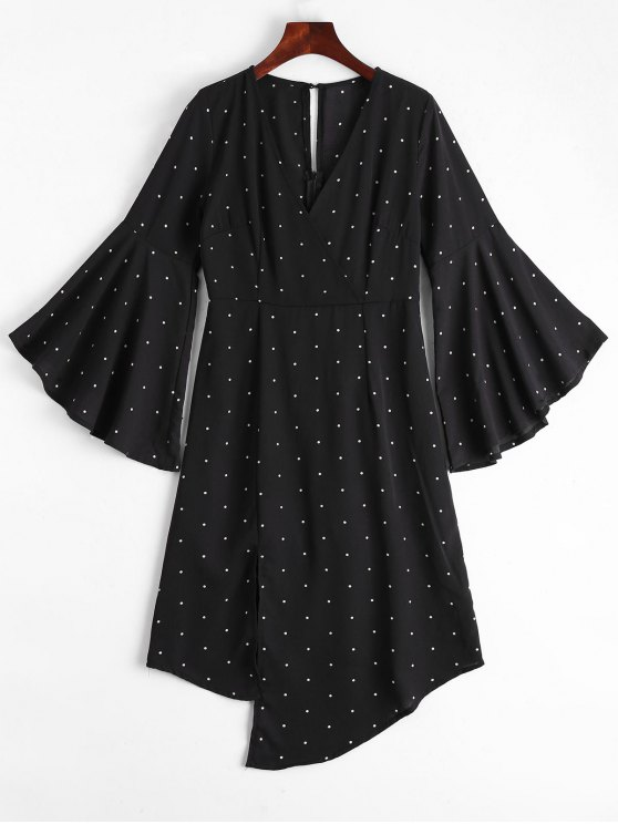 ladies Polka Dot Surplice Asymmetrical Dress - BLACK M