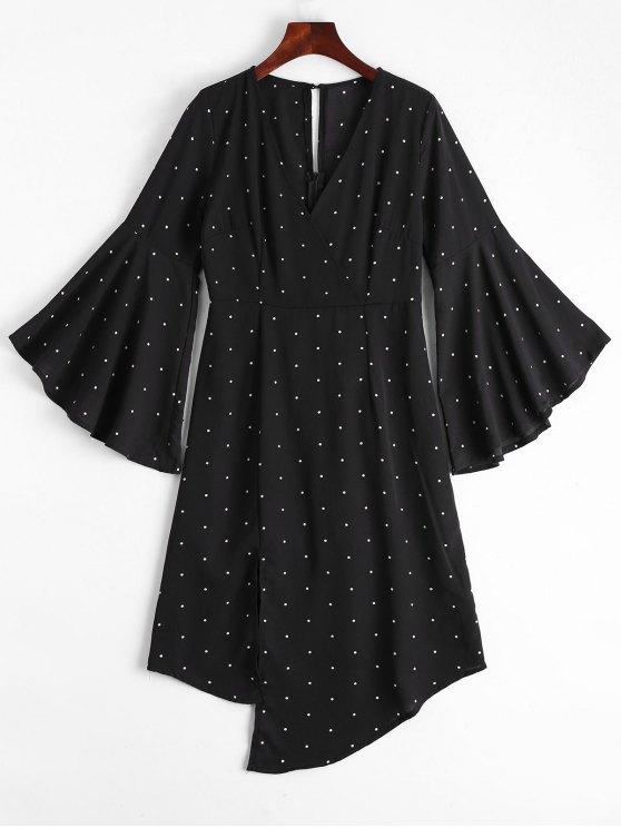ladies Polka Dot Surplice Asymmetrical Dress - BLACK M