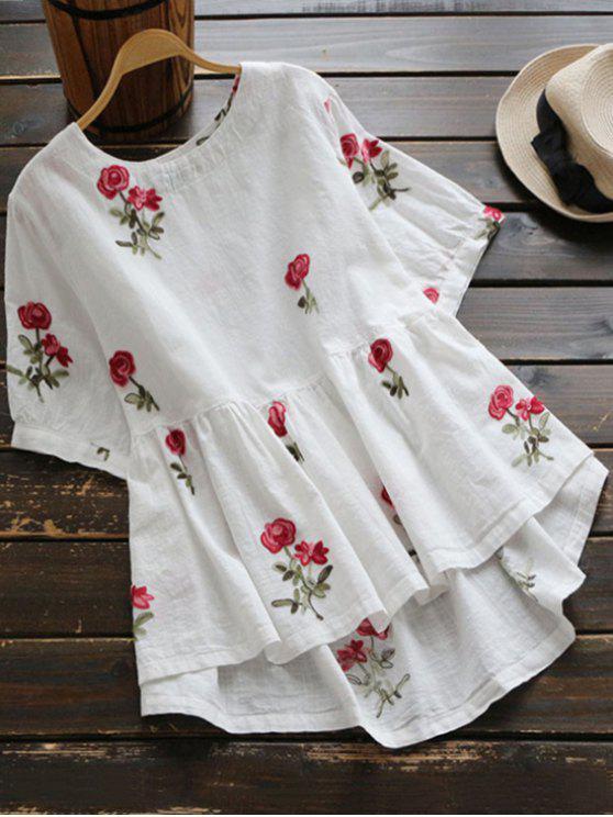 Blouse Haut-Bas Brodée Florale - Blanc L