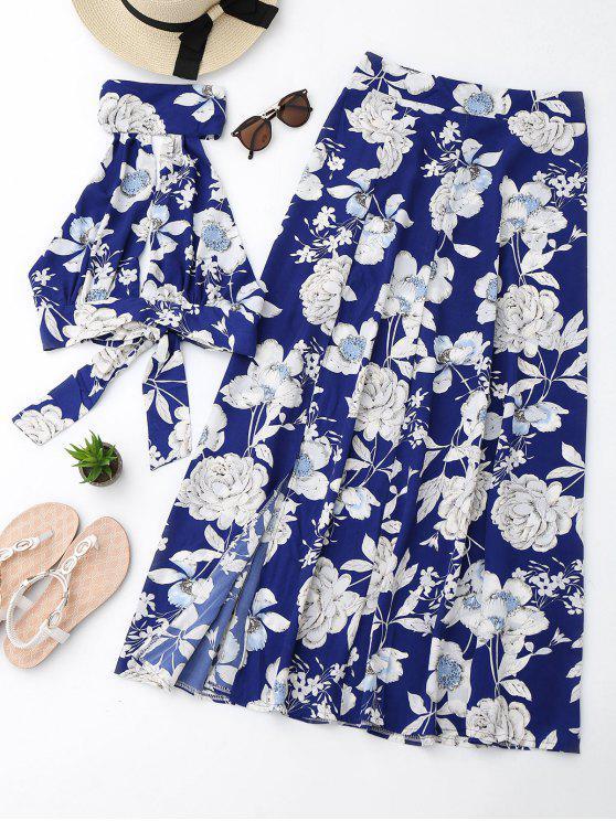 ladies Floral Crop Top and Slit Skirt Set - FLORAL XL