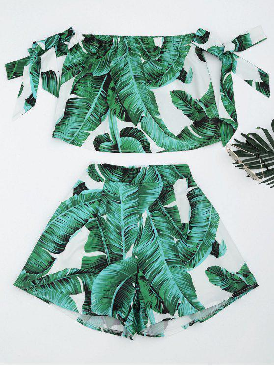 latest Leaves Print Crop Top and Shorts Set - GREEN L