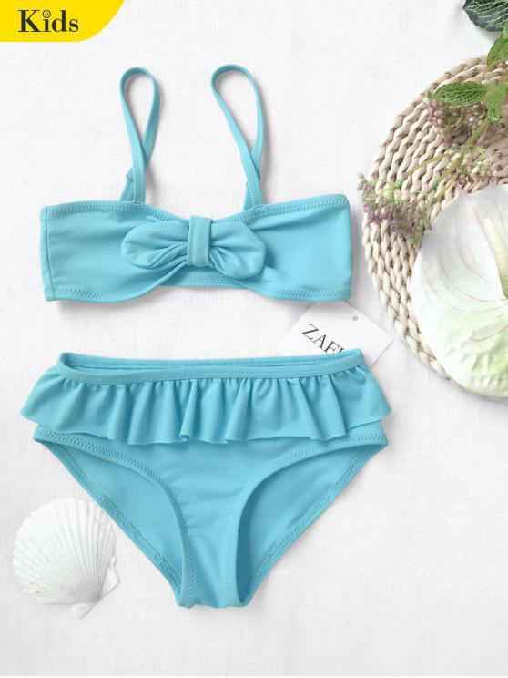 shop Bow Frilled Kids Bikini Set - BLUE 4T