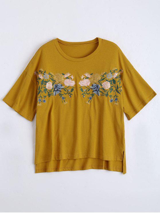 latest High Low Loose Embroidered T-shirt - GINGER ONE SIZE