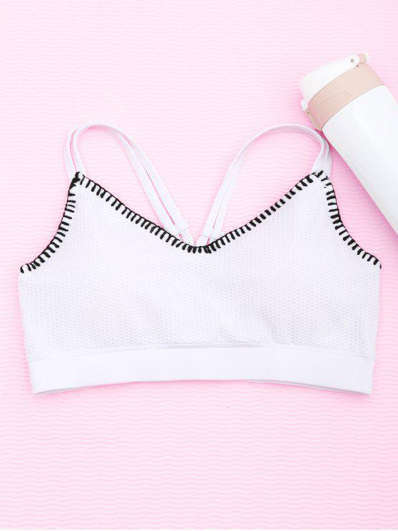outfit Contrast Trim Fishnet Strappy Sports Bra - WHITE M