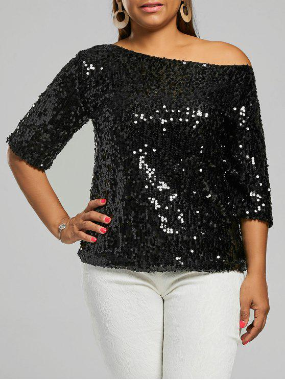f0783b08efa 31% OFF  2019 Plus Size Sequined Glitter T-shirt In BLACK 4XL