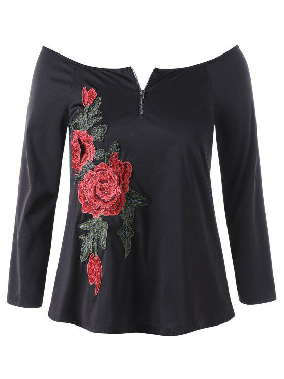 women Plus Size Embroidery Off The Shoulder Top - BLACK 2XL