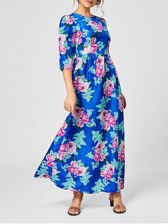 فستان بوهيمي ماكسي طباعة الأزهار - أزرق S