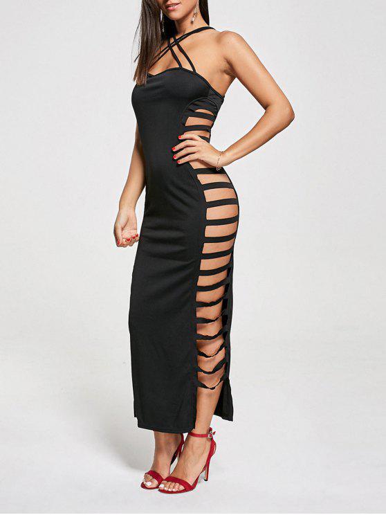فستان نادي ماكسي متقاطع عارية الظهر - أسود M