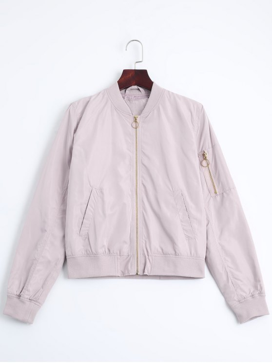 trendy Zip Up Fall Bomber Jacket - PINK M