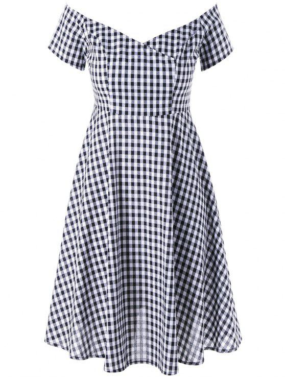2018 Plus Size V Neck Gingham Swing Dress In Checked 2xl Zaful