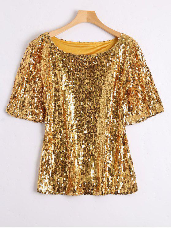 9281add8c5c 31% OFF  2019 Plus Size Sequined Glitter T-shirt In GOLDEN