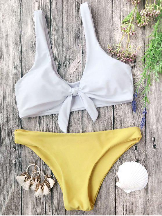 hot Padded Knotted Bralette Bikini Set - WHITE AND YELLOW M